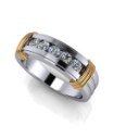 Two Tone Channel Set Diamond Men's Wedding Band