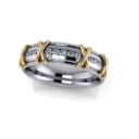 Two Tone Men's X Ring with Diamonds