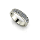 Flat Three Row Micro Pave Band