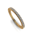 Thin Shared Prong Diamond Eternity Band in Yellow Gold