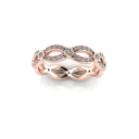 Woven Rose Gold Band with Bezel Set Diamonds
