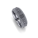 Sroll Engraved Wedding Band with Diamonds