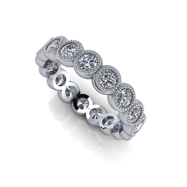 carats the a diamond pin style platinum edge setting oval bezel weighs ring half chic line each embraces graceful polished wedding set in of band eternity bands