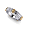 Two Tone Grooved Men's Ring
