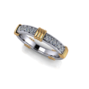 Two Tone Men's Wedding Ring with Diamonds