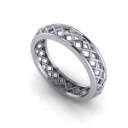 Open Diamond Patterned Pierced Men's Ring