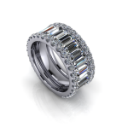 Wide Full Eternity Diamond Baguette and Round Brilliant Band