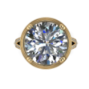 Huge Round Brilliant Diamond Engagement Ring in Yellow Gold