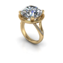 Round Brilliant E Engagement Ring with Split Band in Yellow Gold