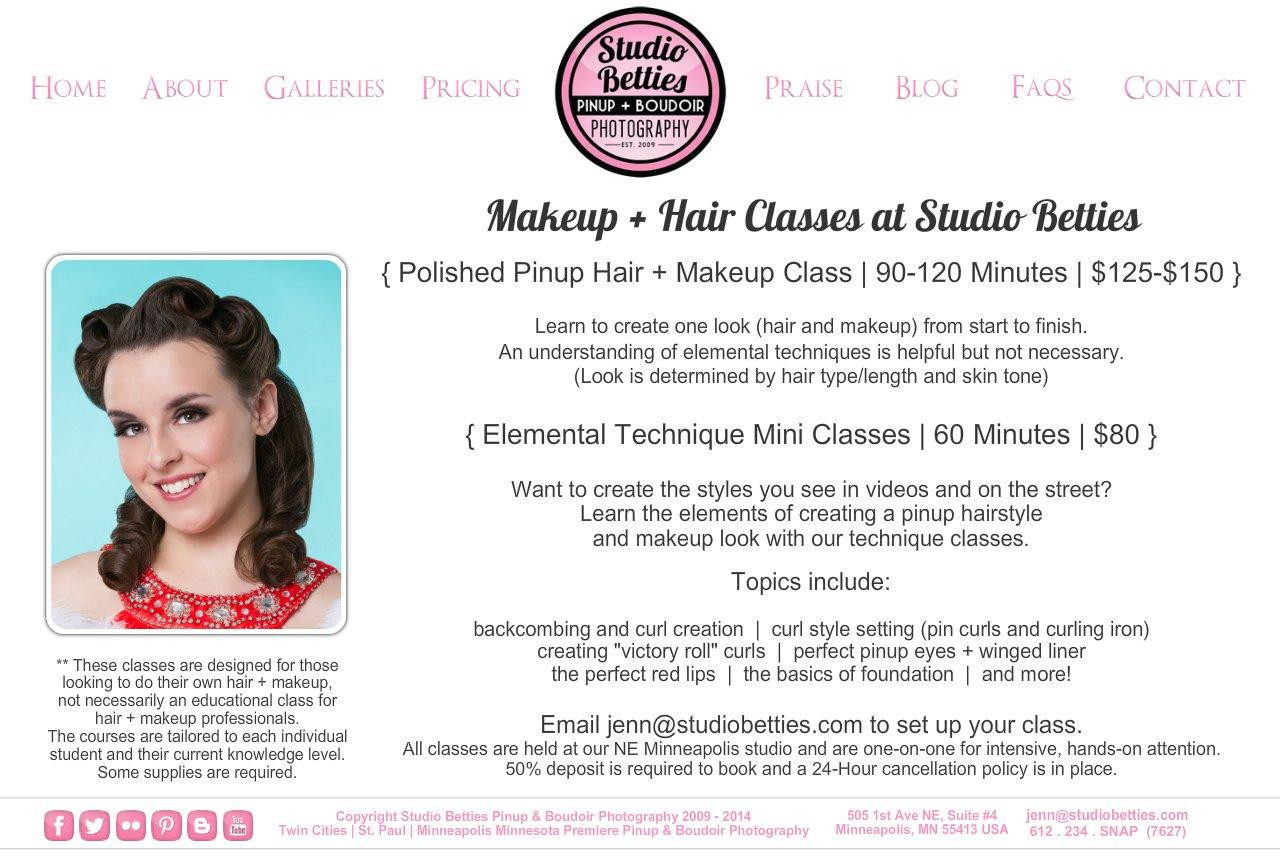 studio betties pinup boudoir photography makeup hair classes