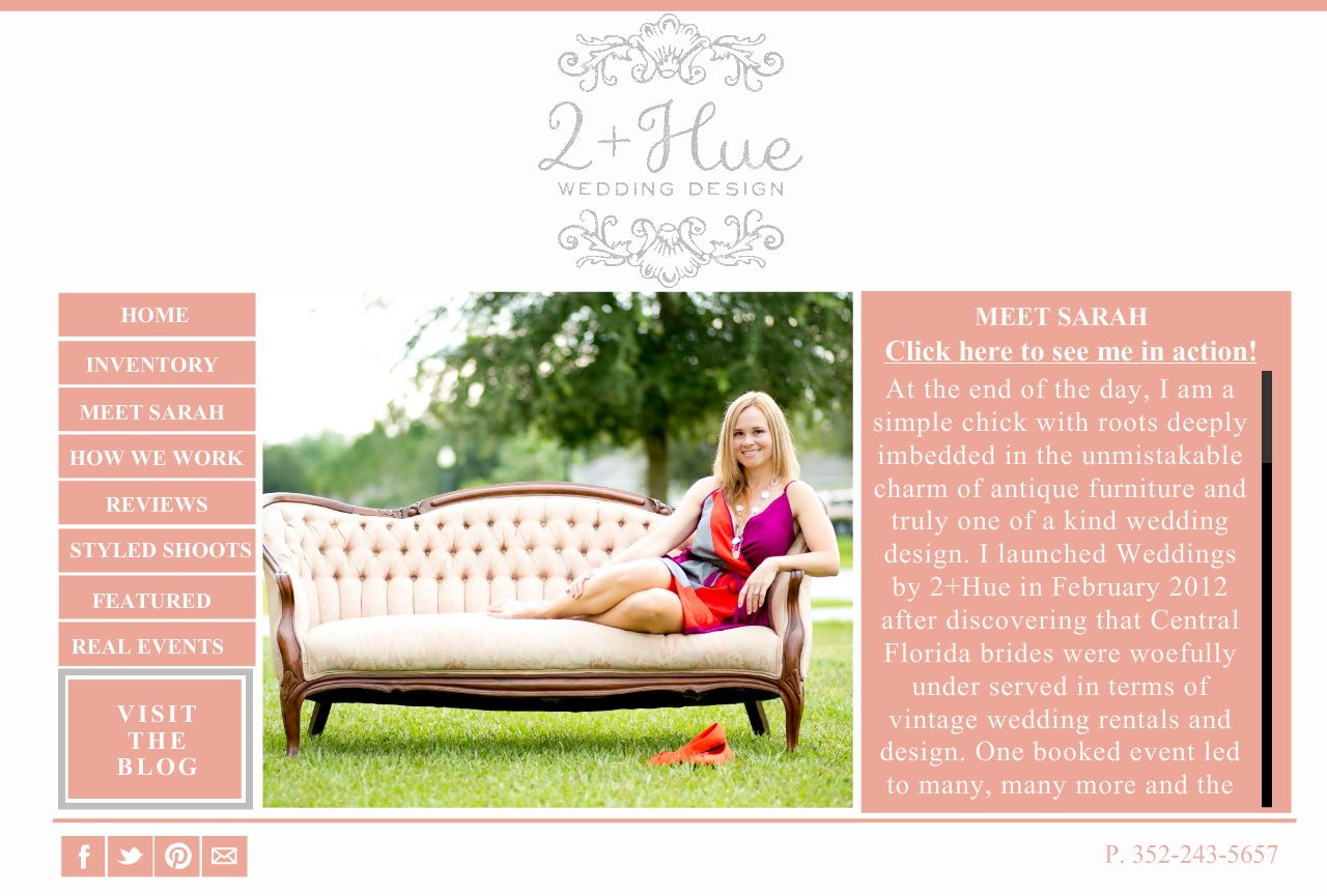 MEET SARAH-  Weddings by 2+Hue , Vintage furniture rental and styling -Orlando, Florida