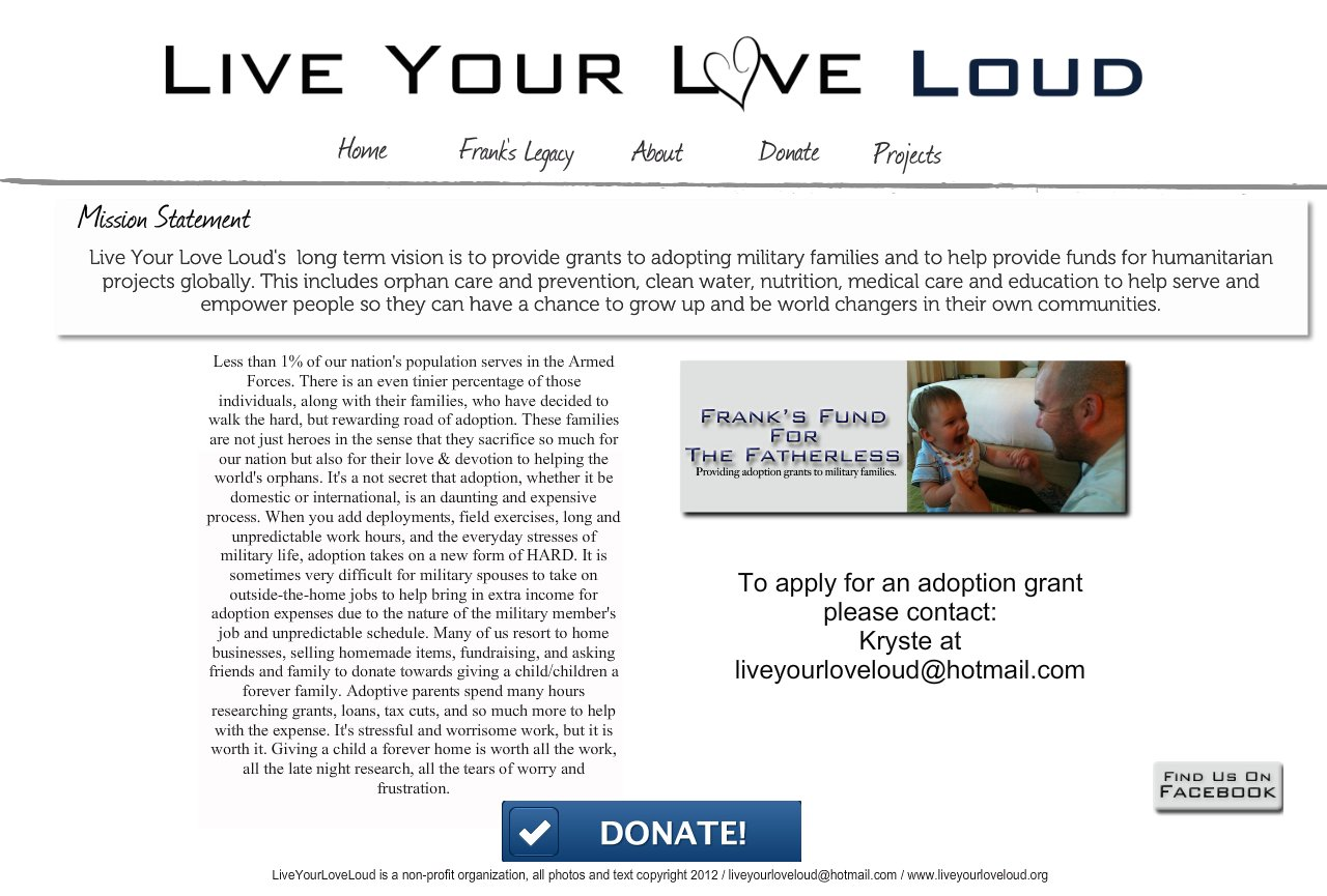 Live Your Love Loud Homepage
