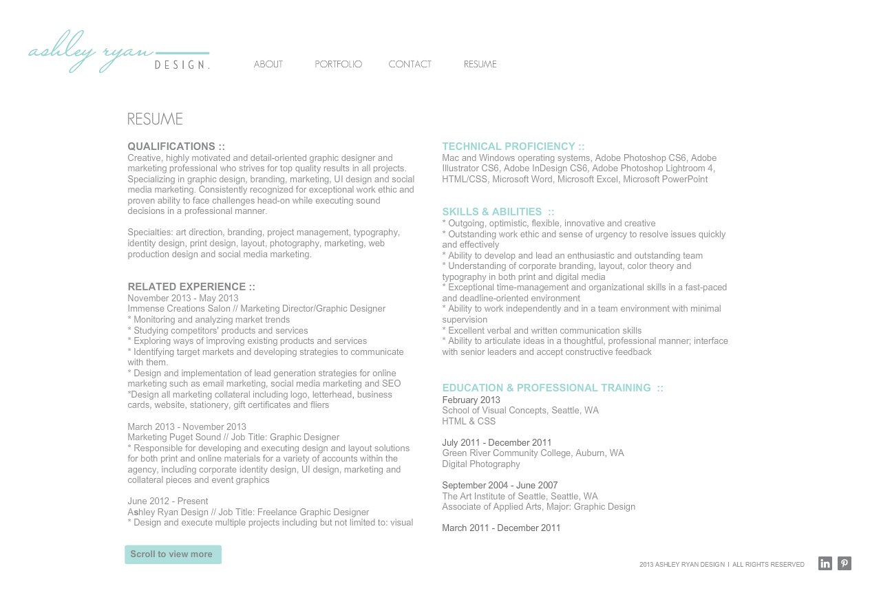 Ashley Ryan Design Resume