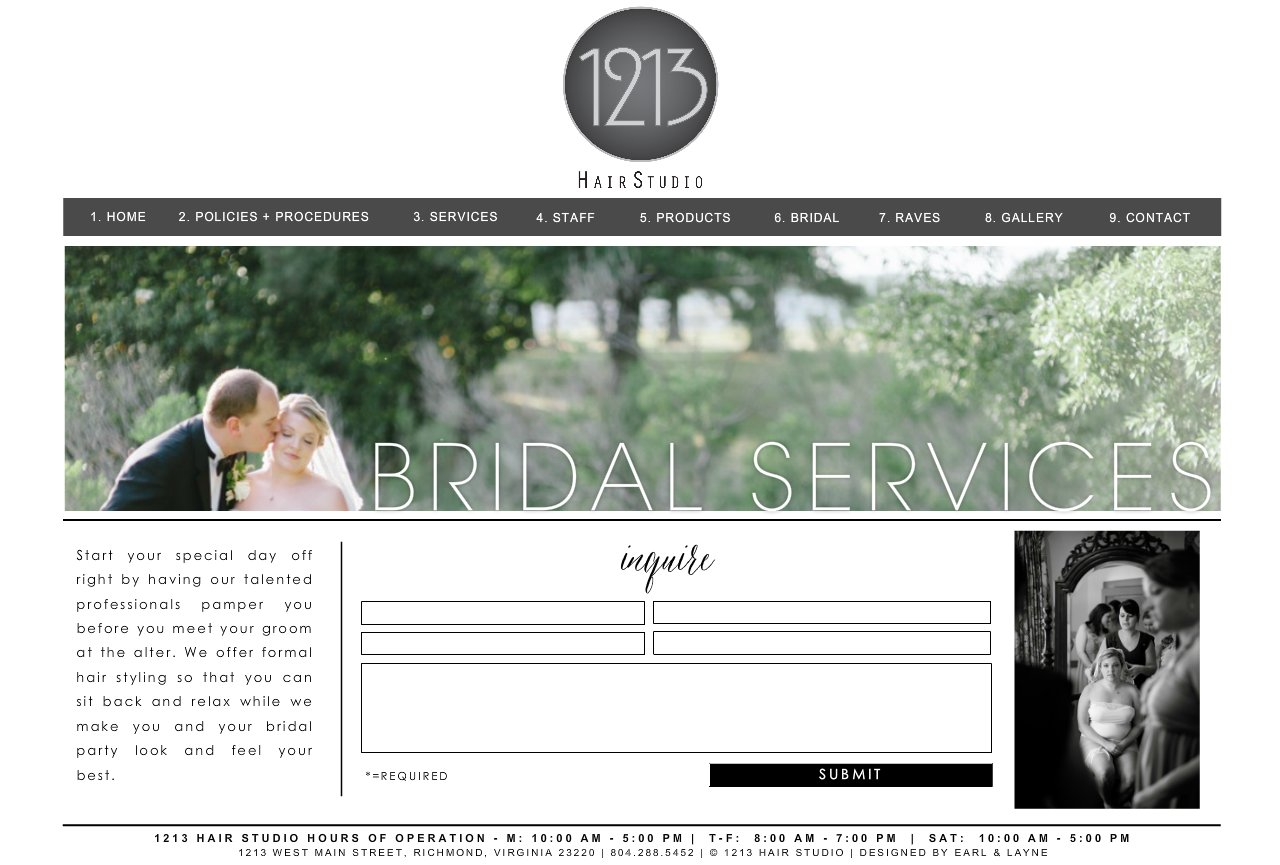 1213 hair studio bridal services for 1213 salon richmond va