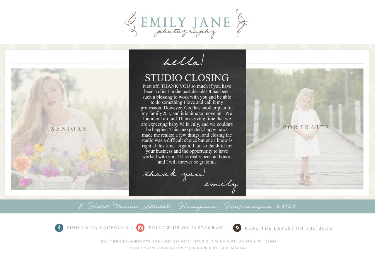 Emily Jane Photography Splash Page