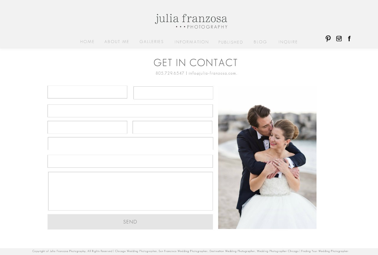 CONTACT - Chicago Wedding Photographer & San Francisco Wedding Photographer - Julia Franzosa