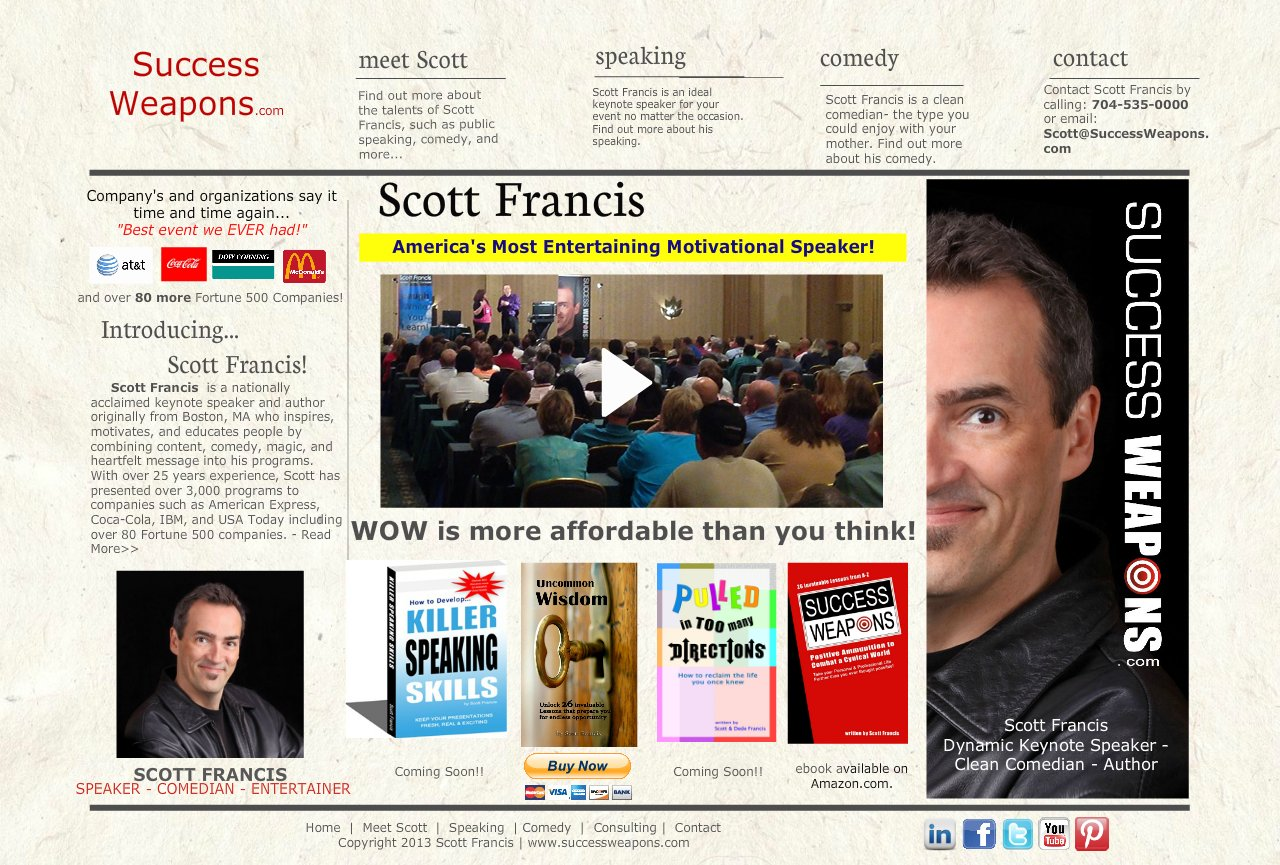 Success Weapons | Scott Francis - Keynote Speaker, Comedian, Entertainer