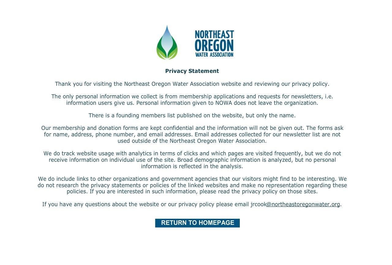 Northeast Oregon Water Association Privacy Statement – Privacy Statement
