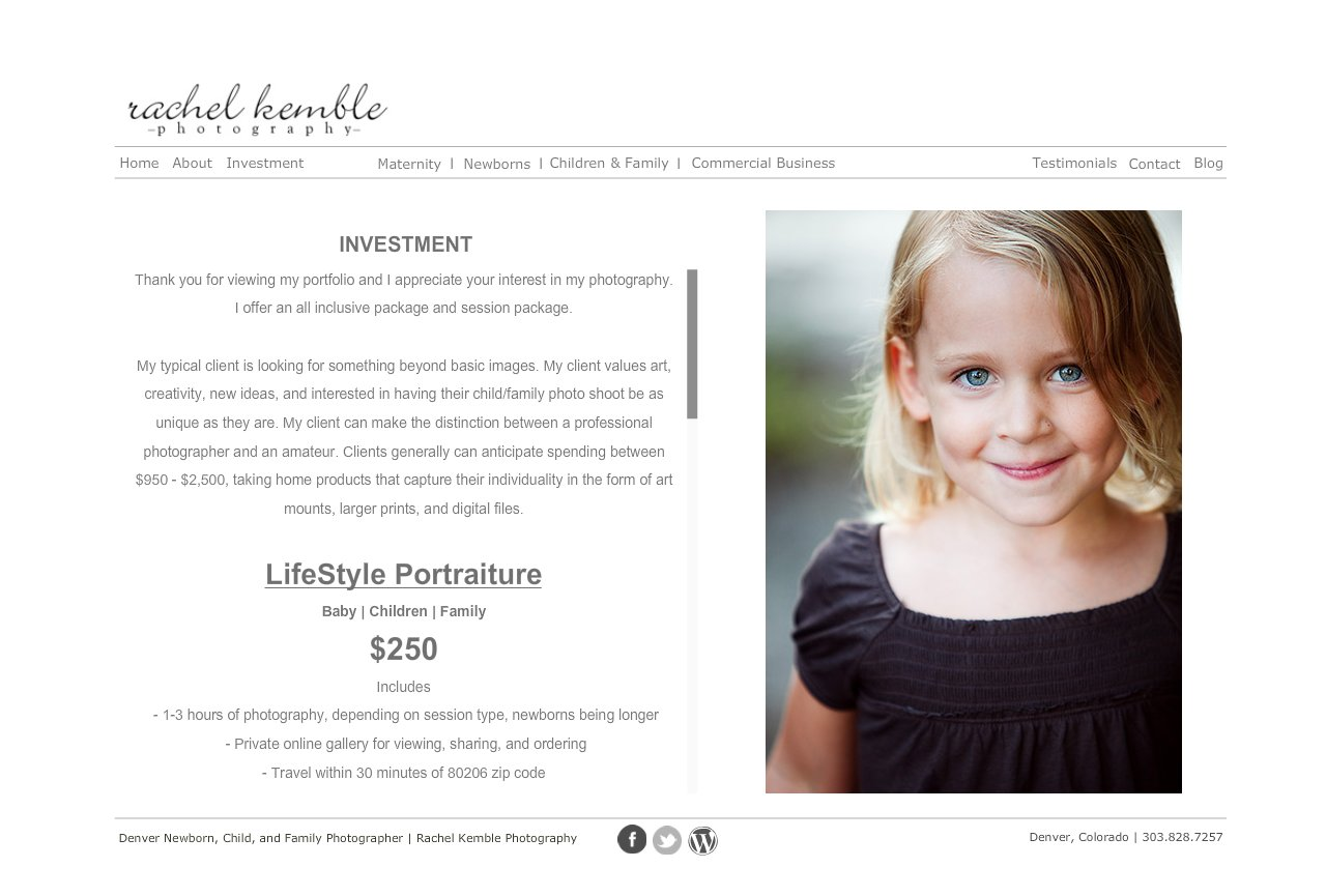 Investment - Rachel Kemble Photography